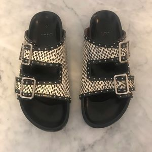 Givenchy double strap flat sandals in watersnake